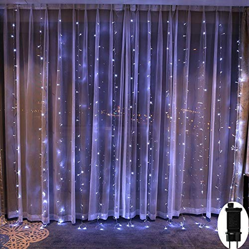 Cortina De Luces Navidad Exterior,3M*3M Cadena De Luces 300 LEDS Con 8 Modos Para Decoración De Ventana,Patio, Jardín,Bar, Navidad, Día De San Valentín, Boda,Fiesta, Decoración Del Hogar - Blanco
