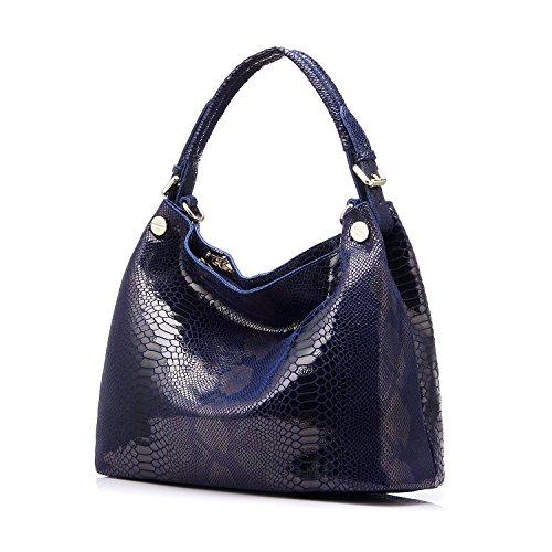 Realer Genuine Leather Formal Hobo Purses and Handbag for Women Office Shoulder Bag Blu