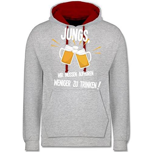 Statement Shirts - Jungs, wir müssen aufhören weniger zu trinken - Kontrast Hoodie Grau Meliert/Rot