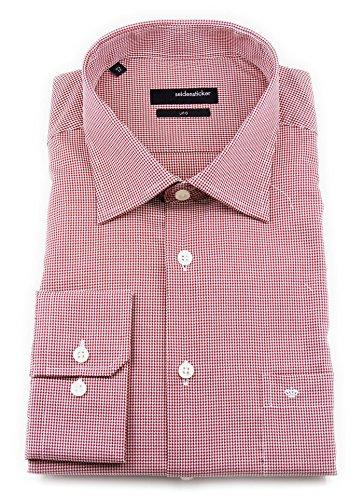 Seidensticker Herren Langarm Hemd Uno Regular Fit rot / weiß strukturiert 132020.46 Rot
