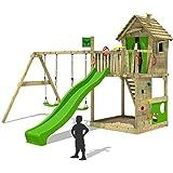 FATMOOSE Parque infantil HappyHome Hot XXL Torre de escalada de la casa del árbol doble swing slide Cajón de arena Pared de escalada