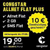 congstar Allnet Flat Plus [SIM, Micro-SIM und Nano-SIM] 24 Monate Laufzeit (24,00 Euro/Monat, 2 GB Datenflat mit max. 21 Mbit/s, Allnet Flat in alle dt. Netze) in bester D-Netz-Qualität preiswert