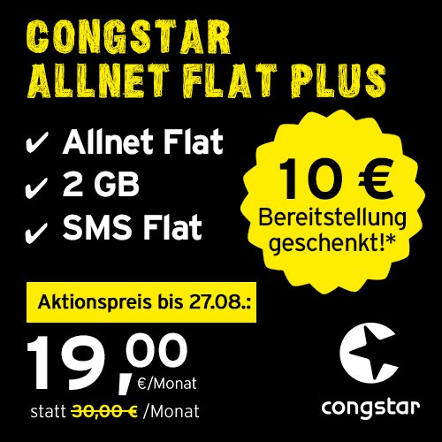 congstar Allnet Flat Plus [SIM, Micro-SIM und Nano-SIM] 24 Monate Laufzeit (24,00 Euro/Monat, 2 GB Datenflat mit max. 21 Mbit/s, Allnet Flat in alle dt. Netze) in bester D-Netz-Qualität