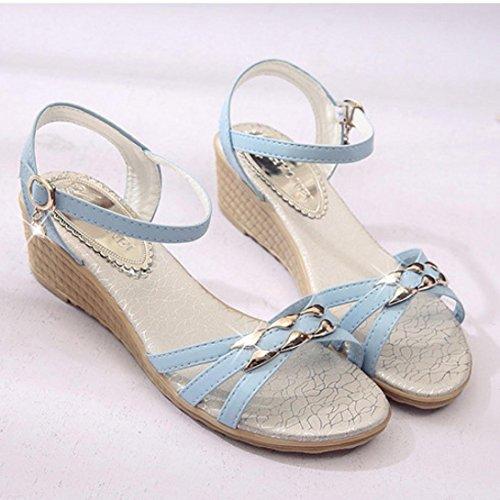 BZLine® Frauen Steigung Flat shoes Roman Sandalen Schuhe Flip Flops Sandalen Blau