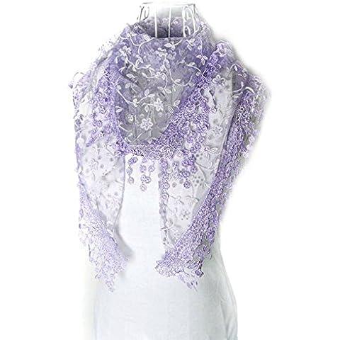 Fortan Lace nappa moda puro Burnout stampa floreale triangolo Mantilla Sciarpa Scialle