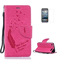 iPod Touch 5/Touch 6 Case [with Free Screen Protector],CaseHome Elegant [Birds Feather] Pattern Design Premium Embossed PU Leather Flip Wallet Case with Card Holder Slots and Wrist Strap Book Style Folio Magnetic Closure Stand Feature Inner Silicone Rubber Bumper Shockproof Full Body Protective Cove