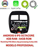 2din GPS, Android 8.0, écran IPS, OctaCore PX5 64 Bits, 4 Go DDR3 RAM, 64 Go Flash ROM. Apple Car Play. Android Auto. Mitsubishi ASX, Peugeot 4008, Citroën C4 AIRCROSS