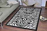 Tierwelt Safari Teppich mit Tiermotiv 16verschiedene Farben & Motive, moderner weicher Teppich mit Tierbild, Polyester, Zebramuster, 160x225cm (5'3'x7'5')