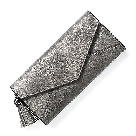 Long Bi-fold Wallet/Fashion, Minimalist Wallet/Hasp,two-folded, Fringed Envelope Package-D