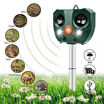 Nasharia Électrique à ultrasons pour chat avec alimentation par piles et flash 5 modes de répulsif à ultrasons pour chats et chiens