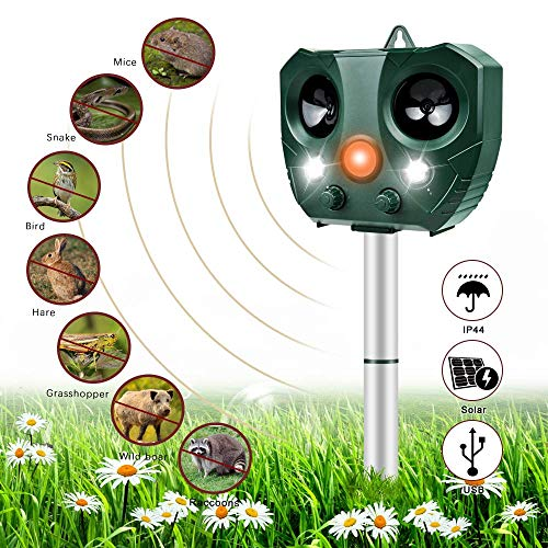 Katzenschreck Ultraschall Solar, Nasharia Wasserdichte Utraschall Tiervertreiber mit Batteriebetrieben und Blitz 5 Modus Einstellbar Ultraschall Abwehr für Katzen Hunde Schädlinge Rotwild
