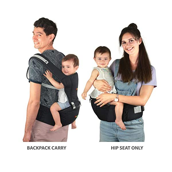 Baby Carrier Hip Seat Sling by NimNik Best Safe Backpack Carriers Back Pain Support (Pearl Black) NimNik ★ NO MORE BACK AND SHOULDER PAIN - NimNik offers an innovation in baby carrying fashion and quality for girls and boys! This Soft Structured Baby Carrier is not only versatile with four different carry positions, but perfectly comfortable for both you and your little one. That twined with unmatched durability makes NimNik Baby Carriers a popular choice in ergonomic baby carriers! ★ DESIGNED FOR STYLE AND COMFORT - With superior padding in our adjustable EXTRA LONG WAIST STRAPS (50 inches / 125 cms) and ergonomic lumbar support for you, say goodbye to backpain and other back, hip and shoulder related carrying issues. With the extremely ergonomic hip seat, you can rest assured that your little one is sitting pretty in style and comfort no matter how you carry! ★ PREMIUM COTTON FOR SOFT AND COSY FEELING - From front facing out and facing in, to hip, to back carry, you'll be comfortable, and so will children. Not every baby likes to be carried the same way, from 6 months and up. Our baby carrier comes with a wide range of comfortable carry positions to use as best suits the both of you, without the back pain after maternity. 8