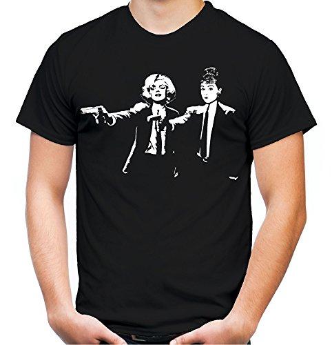 Pulp Fiction Monroe & Hepburn Männer und Herren T-Shirt | Spruch Tarantino Geschenk (XXL, Schwarz)