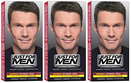 3x JUST FOR MEN Pflege-Tönungs-Shampoo mittelbraun (je 66ml)