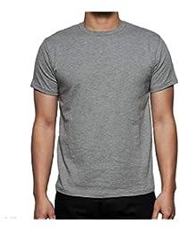 N A COLLECTION Hombres Llanura 100% algodón Casual Manga Corta Cuello  Redondo Camiseta 75d1faddbd8