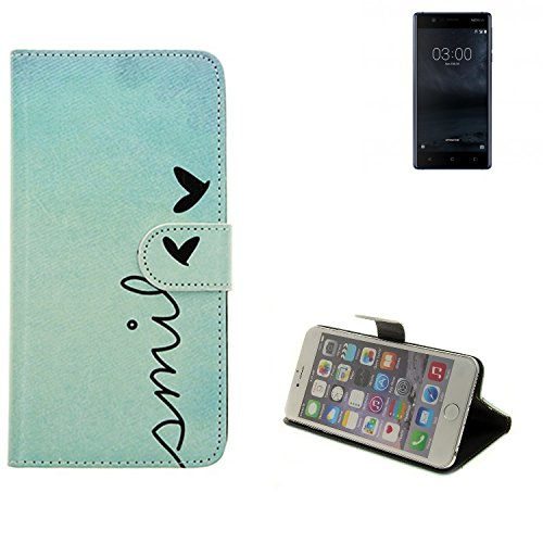 K-S-Trade Nokia 3 Dual-SIM Hülle Wallet Case Schutzhülle Flip Cover Tasche bookstyle Etui Handyhülle ''Smile'' türkis Standfunktion Kameraschutz (1Stk)