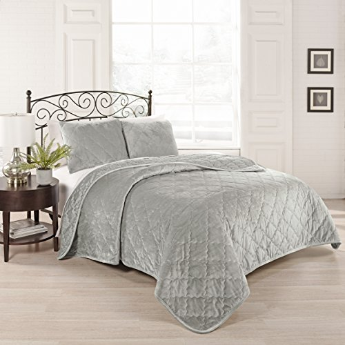 3-teiliges Leder-bett (Beautyrest Collette 3-teiliges Bettwäsche-Set für King-Size-Betten Full/Queen Silber)