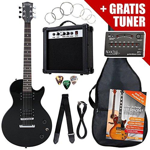 Rocktile Single Cut Pack Komplettset Power E-Gitarre Schwarz (Verstärker, Stimmgerät, Tremolo, Tasche, Kabel, Gurt, Plecs, Ersatzsaiten und Schule mit CD/DVD)