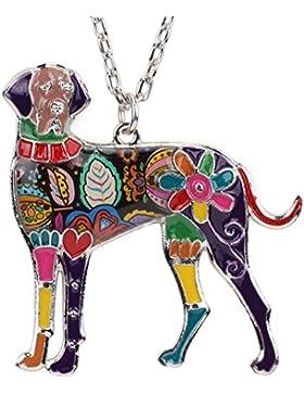 Deutsche Dogge Hund Emaillierter Anhänger mit Legierung Kette Halskette mit einzigartig Anhänger für Frauen, Mädchen...