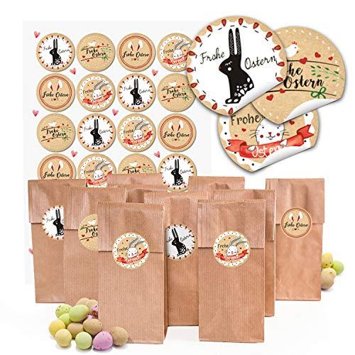 Logbuch-Verlag Petits sachets de Pâques en Papier Kraft Marron Revêtement 7 x 4 x 20,5 cm Emballage + Pâques Autocollant Rond pour Pâques Pâques Cadeau Beige Rouge Blanc Noir, Papier, Lot de 48