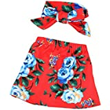 Digood Toddler Baby Kids Girls Red Floral Print Skirt With Headband Clothes Outfits Set (0-6 Months