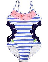 Changhants b¨¦b¨¦ filles maillots de bain lumi¨¨re rayures bleues avec des filles maillot de bain 1-14Y design creux enfants maillot de bain une pi¨¨ce FPU sw0607