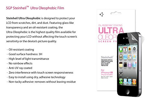 SGP STEINHEIL ULTRA Oleophobic Screen Protector Front And Back For iPhone 4/4S