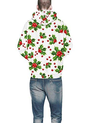 KamiraCoco Herren Pullover Slim Fit Kapuzenpullover 3D Druck Hoodie Weihnachten Langram Sweatshirt Kapuzenjacke Cherry