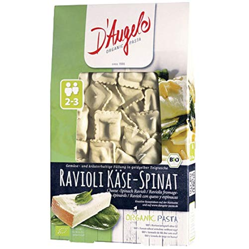 D'Angelo Pasta Ravioli mit Käse & Spinat (250 g) - Bio