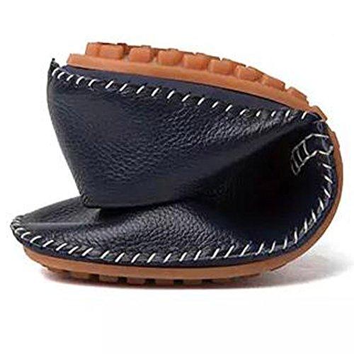 Herren Leder Slipper Slip-on Lässige Loafer Fahren Bootsschuhe Schuhe Flache Mokassins Schwarz