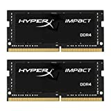 HyperX Impact 16GB DDR4 2400MHz Kit 16GB DDR4 2400MHz módulo de - Memoria (16 GB, 2 x 8 GB, DDR4, 2400 MHz, 260-pin SO-DIMM, Negro)