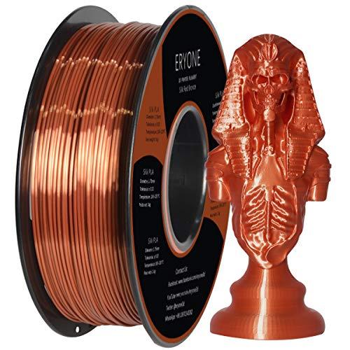 PLA Filamentos 1.75mm Seda Cobre, ERYONE Seda Cobre Brillante Filamentos PLA 1.75mm, 3D Impresora Filamentos PLA for 3D Impresoras and 3D Pen, 1kg 1 Carrete
