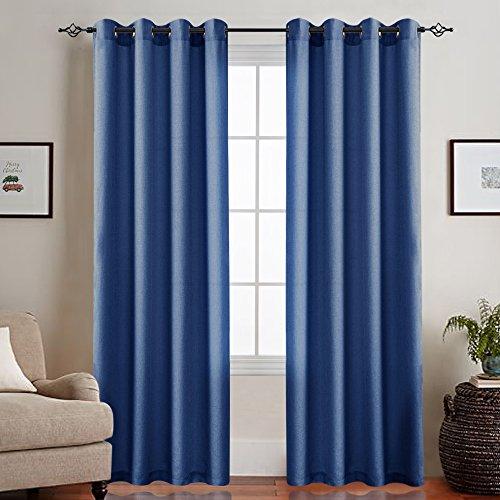 CKNY Vorhänge sheer einfarbig Gardinen Vorhänge aus Voile Wohnzimmer mit Ösen,Dunkel Blau, 245 x 140 cm(H x B), - Für Vorhänge Blau Wohnzimmer