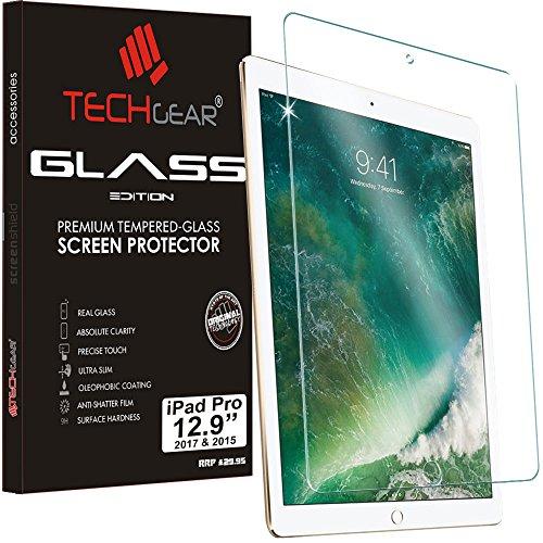 TECHGEAR Panzerglas für iPad Pro 12,9 Zoll 2017/2015 - Panzerglasfolie Anti-Kratzer Schutzabdeckung kompatibel mit Apple iPad Pro 12,9 Zoll 2017 & 2015