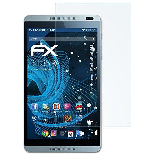 atFolix Schutzfolie kompatibel mit Huawei MediaPad M1 Panzerfolie, ultraklare & stoßdämpfende FX Folie (2X)