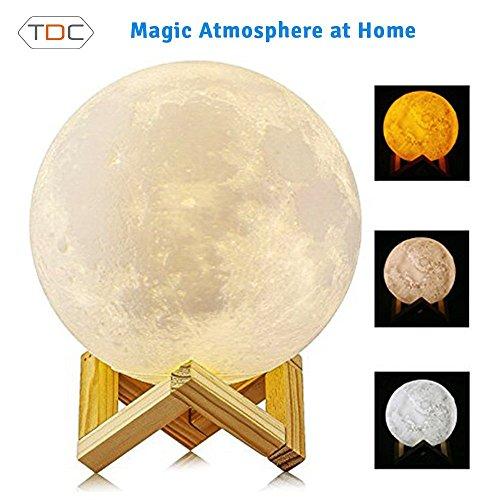 TDC Lámpara Luna de Noche 3D | Lámpara Moon Lamp Perfecta Para la Cabecera | Interruptor...