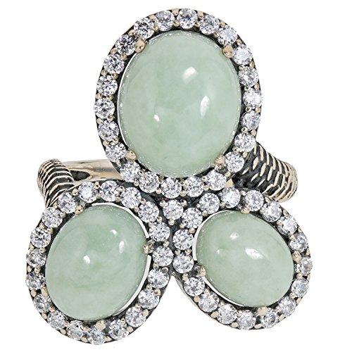 Jade of Yesteryear Design Damen-Ring Sterling-Silber 925 oxidiert vintage Jade Zirkonia RW18 (Jade Verlobungsringe)