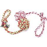 Ecloud Shop® 2PCS tejido tejido de algodón duradera juguetes con bola de la manija para mascota masticación de formación de gran tamaño (Color aleatorio)