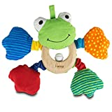 Geschenkidee Frosch-Greifling mit Namen | Lernspielzeug für Babys mit Rassel aus Stoff und Holz
