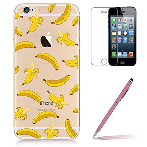Custodia iPhone SE/5/5s [Pellicola Protettiva in Vetro Temperato], Yoowei® Design Colorato Cristallo Trasparente Ultra Sottile Morbido TPU Gel Case Cover per iPhone SE/5/5s 4.0 (Donuts) Banana