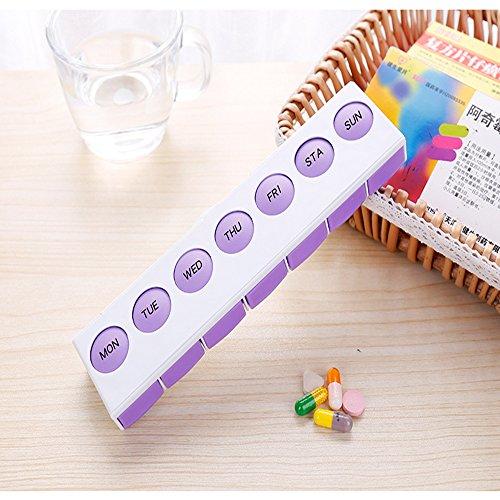 XIHAA Monatliche Pille Organizer - 7Day Pille Organizer mit Großen Abnehmbaren Medikamenten Pods, Portable Pill Case Box und Halter Für Die Tägliche Medizin und Vitamine,Purple (Monatliche Pille Veranstalter)