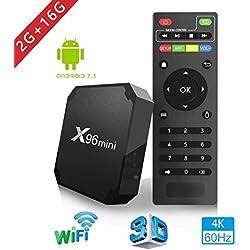 X96mini TV Box Android 7.1.2, 2+ 16G 4K Boîtier Numérique et Intelligent pour la Télévision CPU Amlogic S905W Quad Core Arm Cortex A53 Connexion (Netflix et Youtube Impossible)