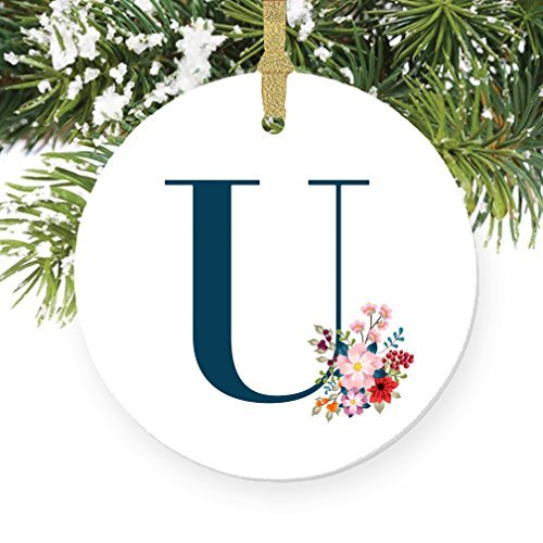 Weihnachten Ornament Handwerk U Buchstabe U Namen U Initiale Weihnachten Monogramm Xmas Tree Ornament Kleiderbügel Geschenk für Frauen