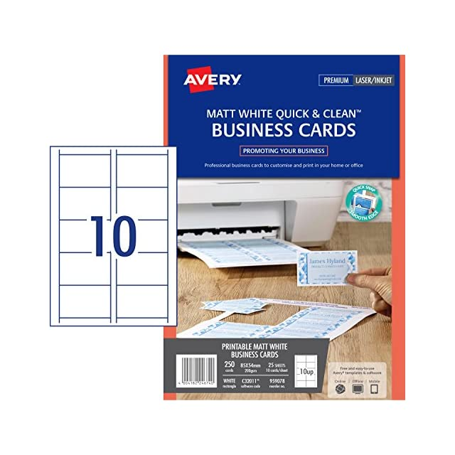 Avery C32011 25 Cartes De Visite Quick And Clean Finition Mate