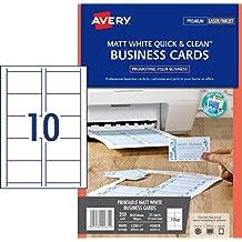 Avery Quick/&Clean Visitenkarten doppelseitig bedruckbar seidengl/änzend