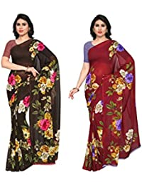 Anand Sarees Women's Faux Georgette Multi Color Printed Combo Saree With Blouse Piece (1052_2_1052_3)