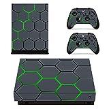 eXtremeRate Xbox One X Vinyle Autocollants Stickers Accessoire Xbox One X, Xbox One X Peaux Console + 2 Décalcomanies pour Les Dualshock Controleurs + 2 Home Buttons Stickers(nid-d'abeilles)