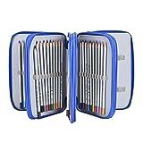 Newcomdigi Astuccio per 72 Matite Portapenne Astuccio Scuola Elementari Super Grande 4 Strati Porta Matite Sacchetto Borsa Trucco (Senza Matita) - Blu