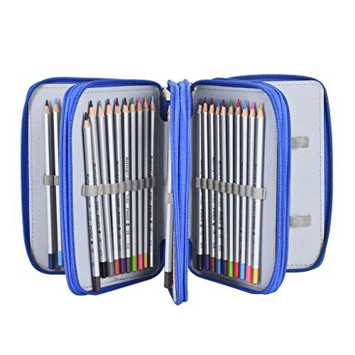 Newcomdigi Sac à Crayon de Toile Sac à Crayon 72 Couleurs Organisateur Crayon Porte-Crayons Grande Capacité Solide Durable Pratique pour Bureau Ecole Art