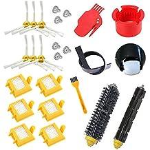 astor Rueda HEPA Fiters Kit para iRobot Roomba 700 serie 760 770 780 790, pincel de cerdas, flexible Beater Cepillos 6-Armed 3-Armed Side cepillo de repuesto